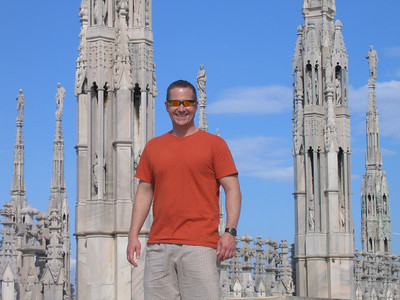 Matt amongst the spires on the rooftop of the Duomo in Milan.