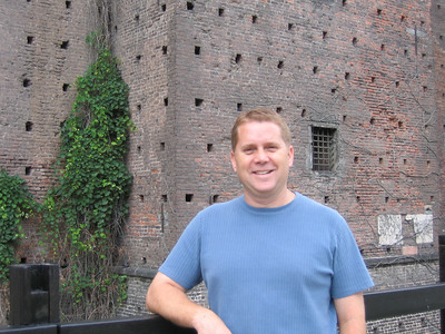 Bryan at Sforza Castle in Milan.  Original construction of this castle began in 1450.  It now houses an art collection.