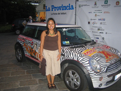 Some sort of festival was going on in Como, and this zebra-striped Mini Cooper caught Jackie's eye.