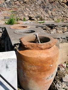 Clay pots used for storage. Pompeii