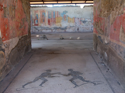 More entry way mosaics and frescoes in Pompeii.
