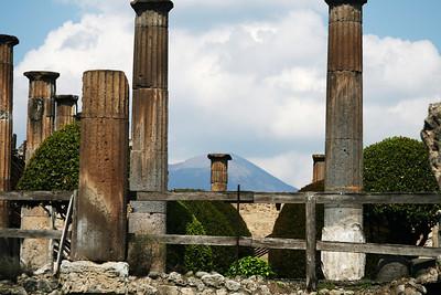 Pompeii with Vesuvius in background