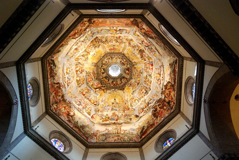 Vasari and Zuccari fresco of the Last Judgment in the dome of the Duomo, Florence. This fresco covers nearly 39,000 square feet.