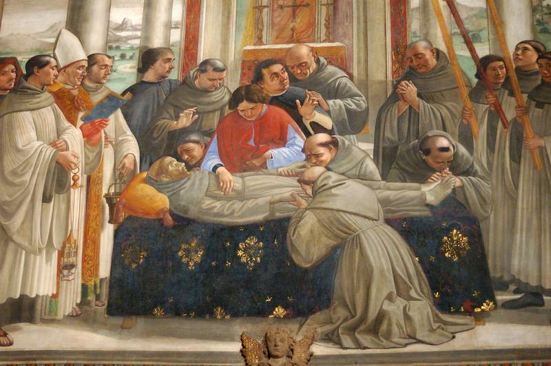 Ghirlandaio's Death of St. Francis fresco in the Sassetti Chapel of Basilica of Santa Trinita