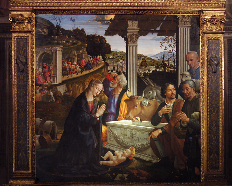 Domenico Ghirlandaio's, Adoration of the Shephards (1485 A.D.) in the Sassetti Chapel of Santa Trinita