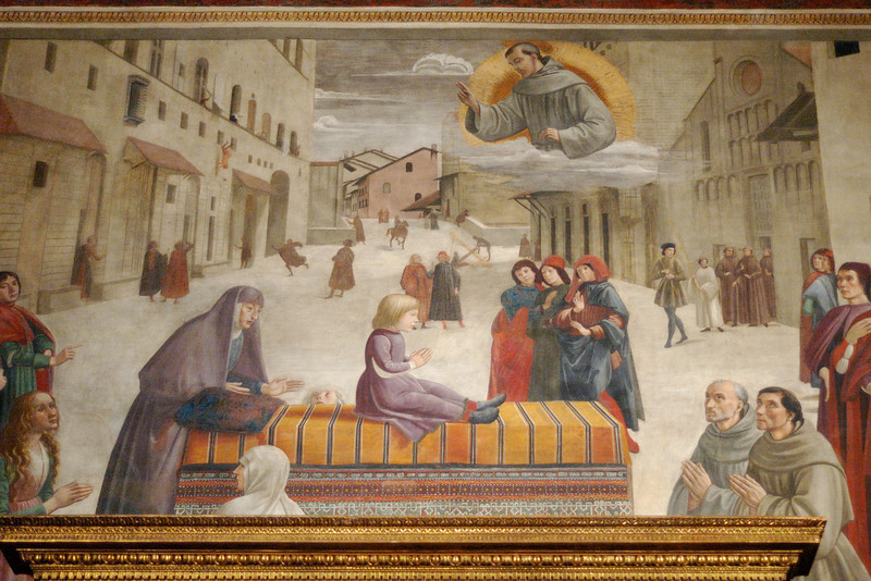 Ghirlandaio's Resurrection of the Boy in the Sassetti Chapel of Basilica of Santa Trinita.  In the upper left section of the fresco, the boy is seen falling to his death from the Palazzo Spini Ferroni.
