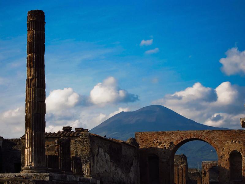 Mt. Vesuvius is a very prominent neighbor.