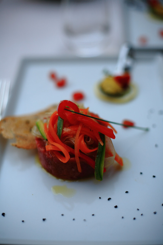 Beef tartare starter at the restaurant at Castello di Spaltenna.