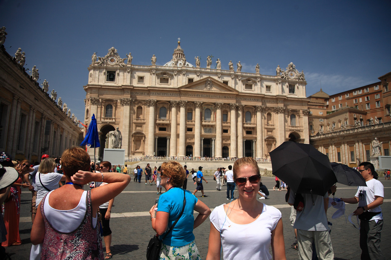 In front of St Peter's Basilica at the Vatican. It was about 106 degrees.