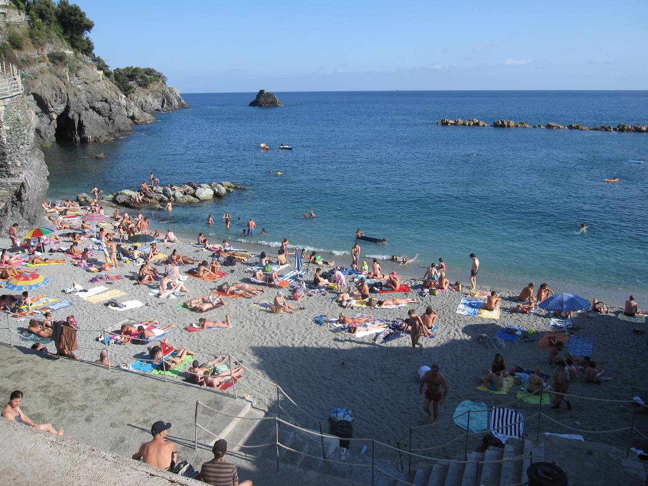 The public beach in Monterosso where we took a dip in the Mediterranean.