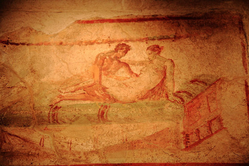 Fresco on the wall of Pompeii's brothel. The other frescos are NC-17.