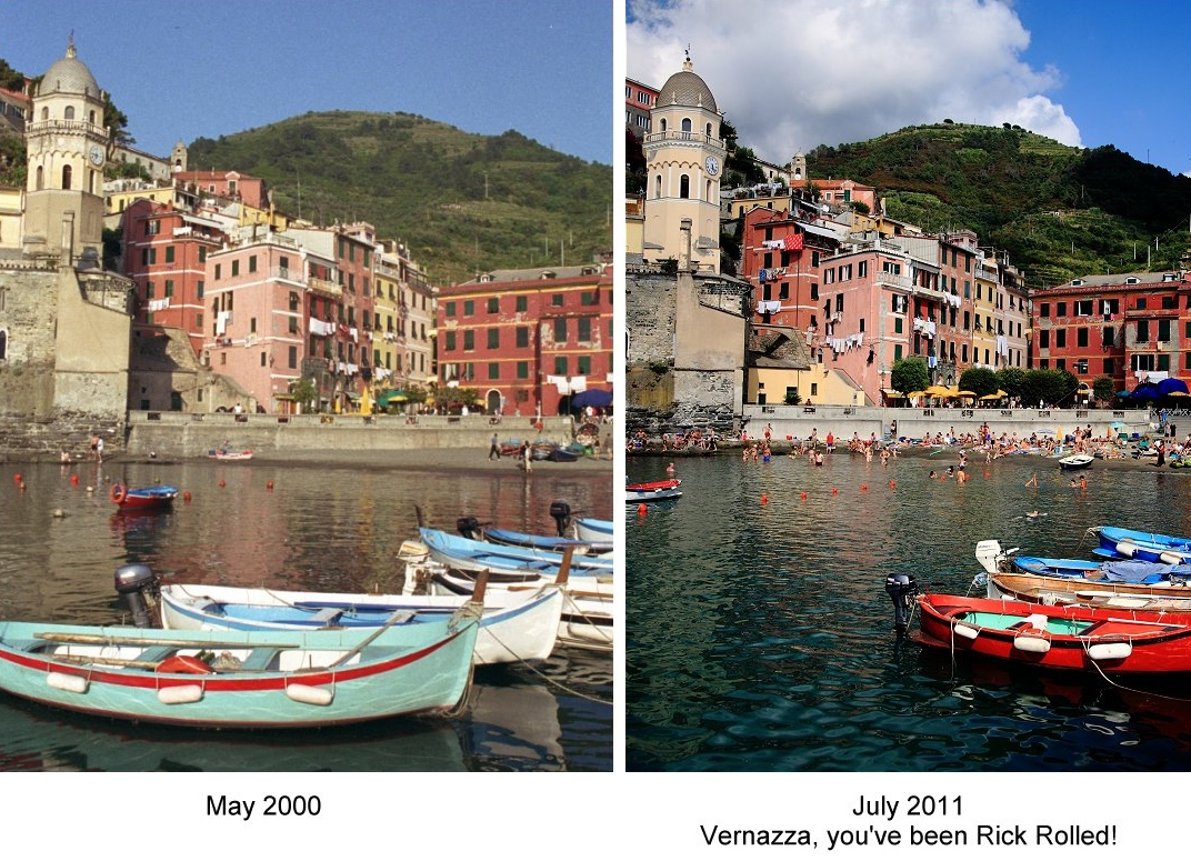 The Italian government has preserved every aspect of Vernazza in the last 11 years, except its solitude. Thanks Rick Steves for discovering, and then ruining, the cinque terre.