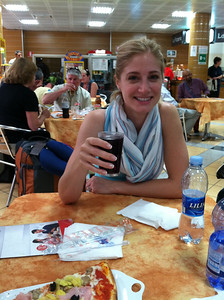 Great pizza and wine at where else? the Milan train station.