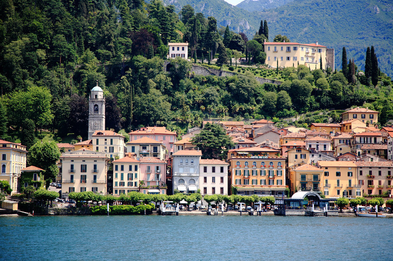 Approaching Bellagio on the ferry -- our place, Hotel Florence, is toward the left on the lakefront. Not pictured: Clooney's villa.
