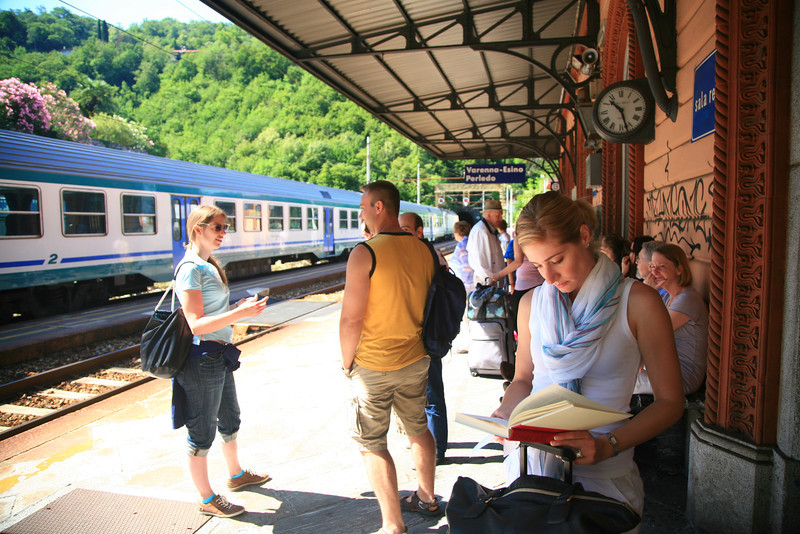 At the Varenna train station waiting to head to the Cinque Terre.