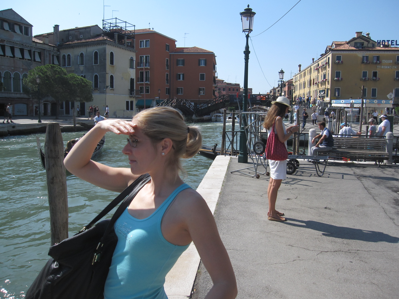 Freshly off the plane from the US and jet-lagged -- feels like 3am. We wait for our water taxi in Venice.