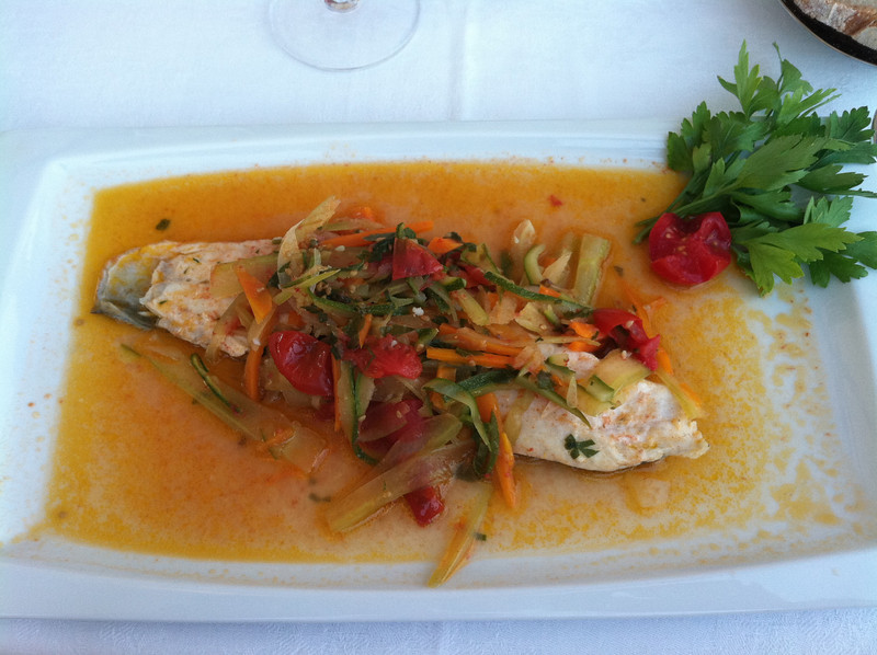 Third course -- what the waiter described as a drowning fish. Spectacular.