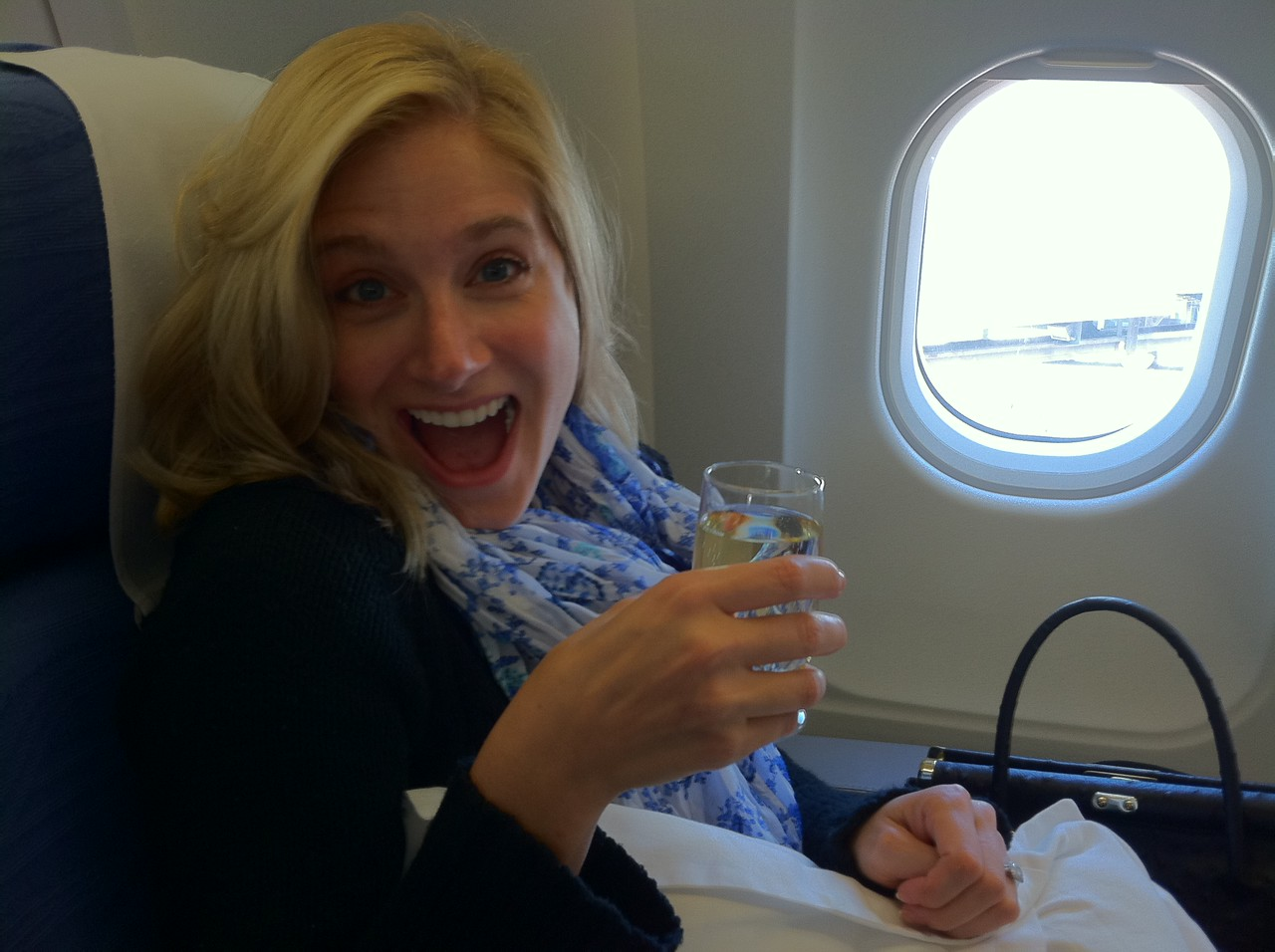 Champagne in business class!