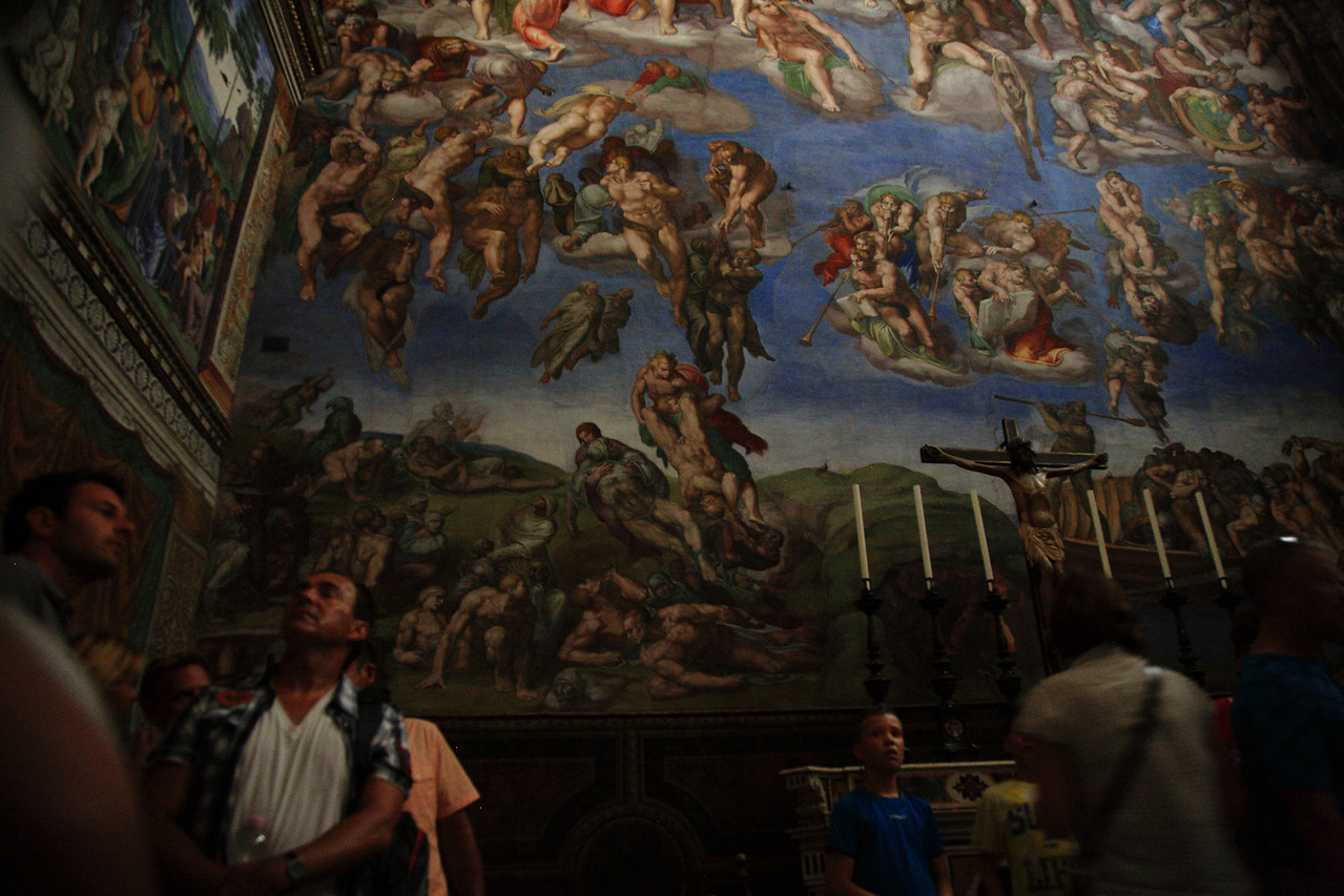 Snuck a photo in the Sistine Chapel of Michaelangelo's stunning Last Judgment.