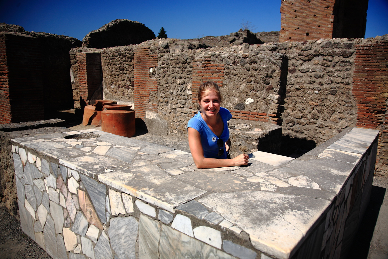 """An excavated bar / food stall at Pompeii. """"What'll ya have?"""""""