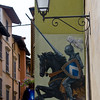 Notice how lance emerges from mural<br /> Streets in Salo