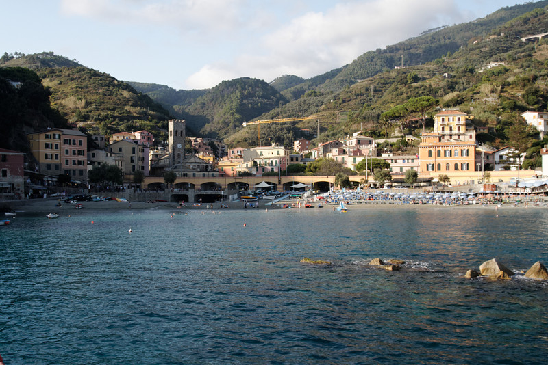 "Cinque Terre - Monterosso.  This the the ""Old Town"" in late afternoon, as the boat approaches the dock."