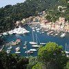 "Liguria - Portofino.  This is a view of the harbour area of the ""posh"" resort of Portofino, which is still frequented by the rich & famous.  The largest Yacht in the harbour was named ""Lady Kathryn V"", and it would have been interesting to know who was on board at the time (I believe the Yacht can be rented)."