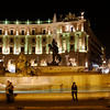 Rome - Piazza della Repubblica.  Another night scene, with tourists admiring the fountains.