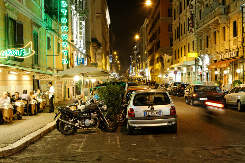 Rome - a typical evening on one of the streets near my Hotel.