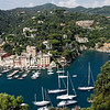 Liguria - Portofino.  Some of the smaller boats and sailing craft moored in the small harbour.