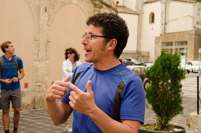 Seba explaining the story of St. Sebastian, his namesake.