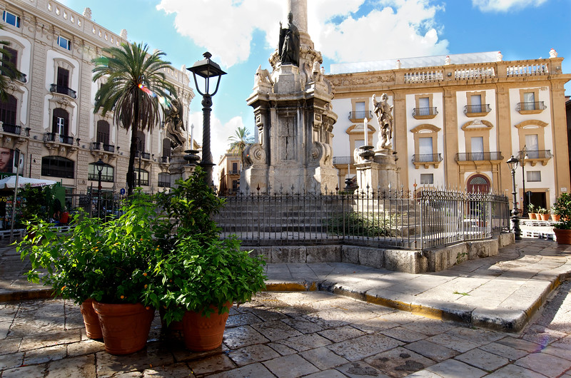 One of Many Town Squares Found in Palermo