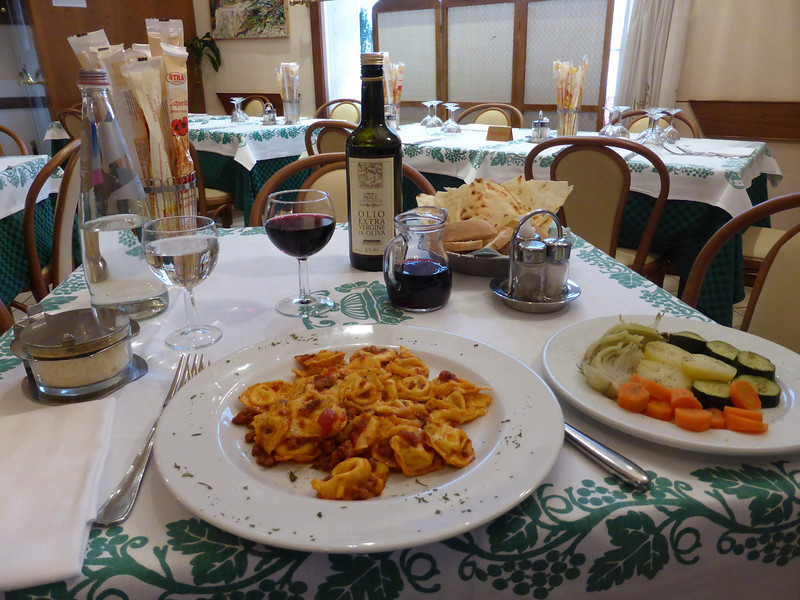Ravenna - the fine meal I enjoyed at Ristorante La Gardela, which consisted of sauteed vegetables, Pasta, Wine and bottled Water.  Dessert and Coffee followed!