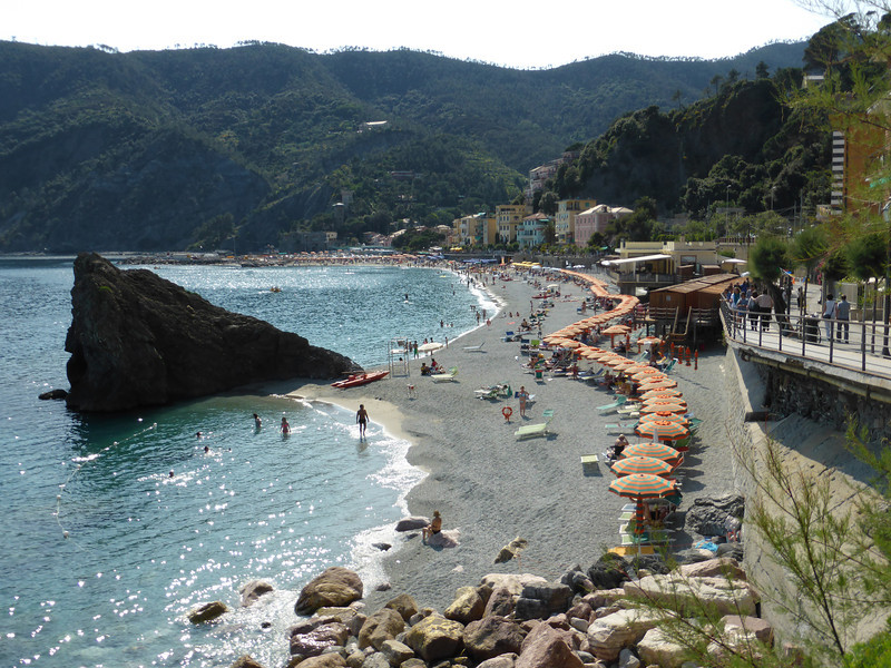 Monterosso - another view of the beach area in the new town in the late afternoon.