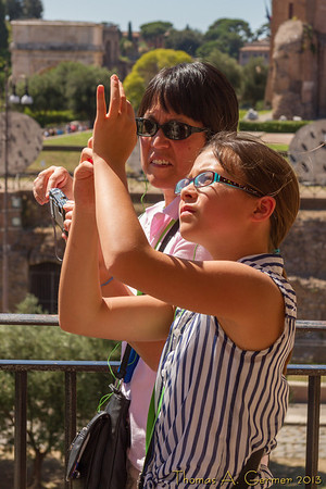 Taking pictures at the Colosseum