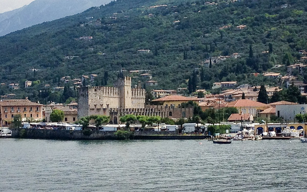 On our first bike ride, we took a ferry across Lake Garda which left from Torri del Benaco (by Calla)