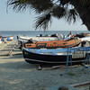 Monterosso - some of the fishing boats which have been pulled up on the beach for the day.  The owners were making a few repairs to some of them at the time.
