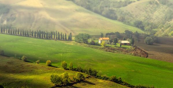 Tuscany home, early morning.