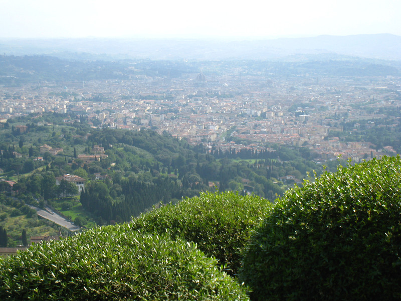 Florence - a view of the city as seen from Fiesole.  The Dome can be seen faintly through the haze.