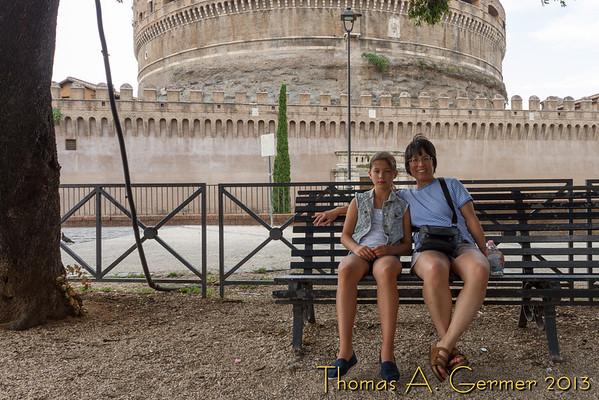 Taking a break by the Castel Sant'Angelo