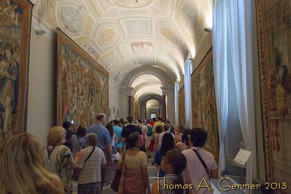 Inside the Vatican Museum, the Hall of Tapestries