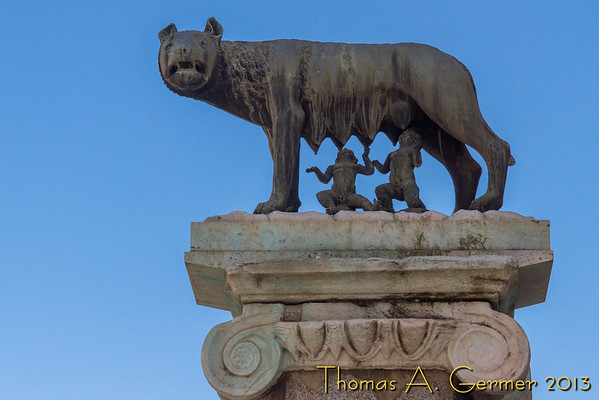 Romulus and Remus sucking on the she-wolf