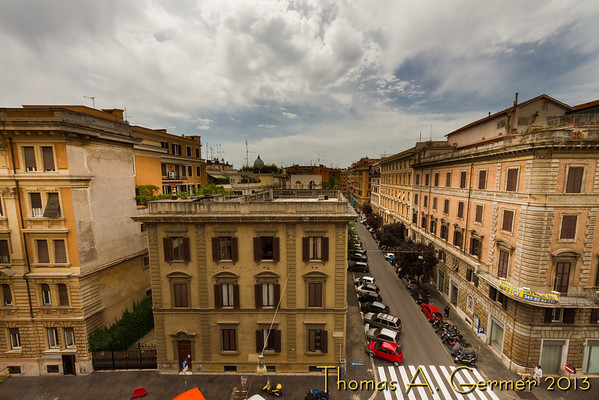 View out of our hotel in Rome, with the dome of St. Peter's in the distance.