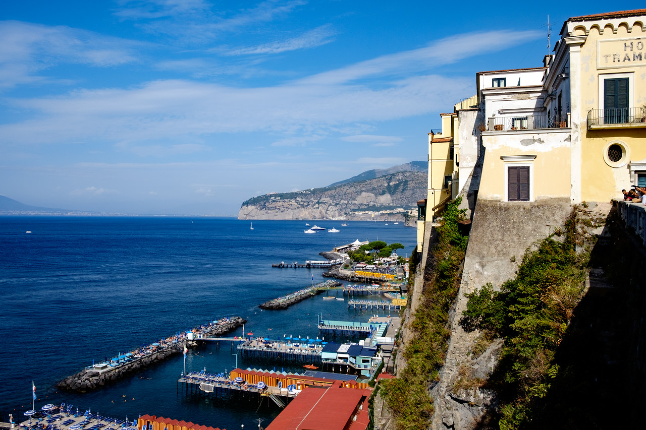 View of the beaches below Sorrento