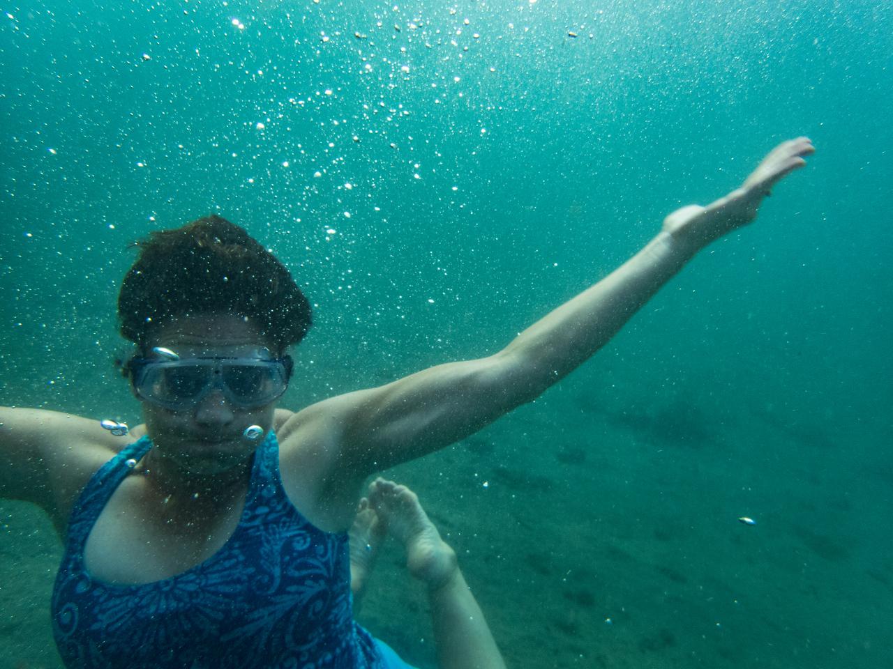 Lisa swimming