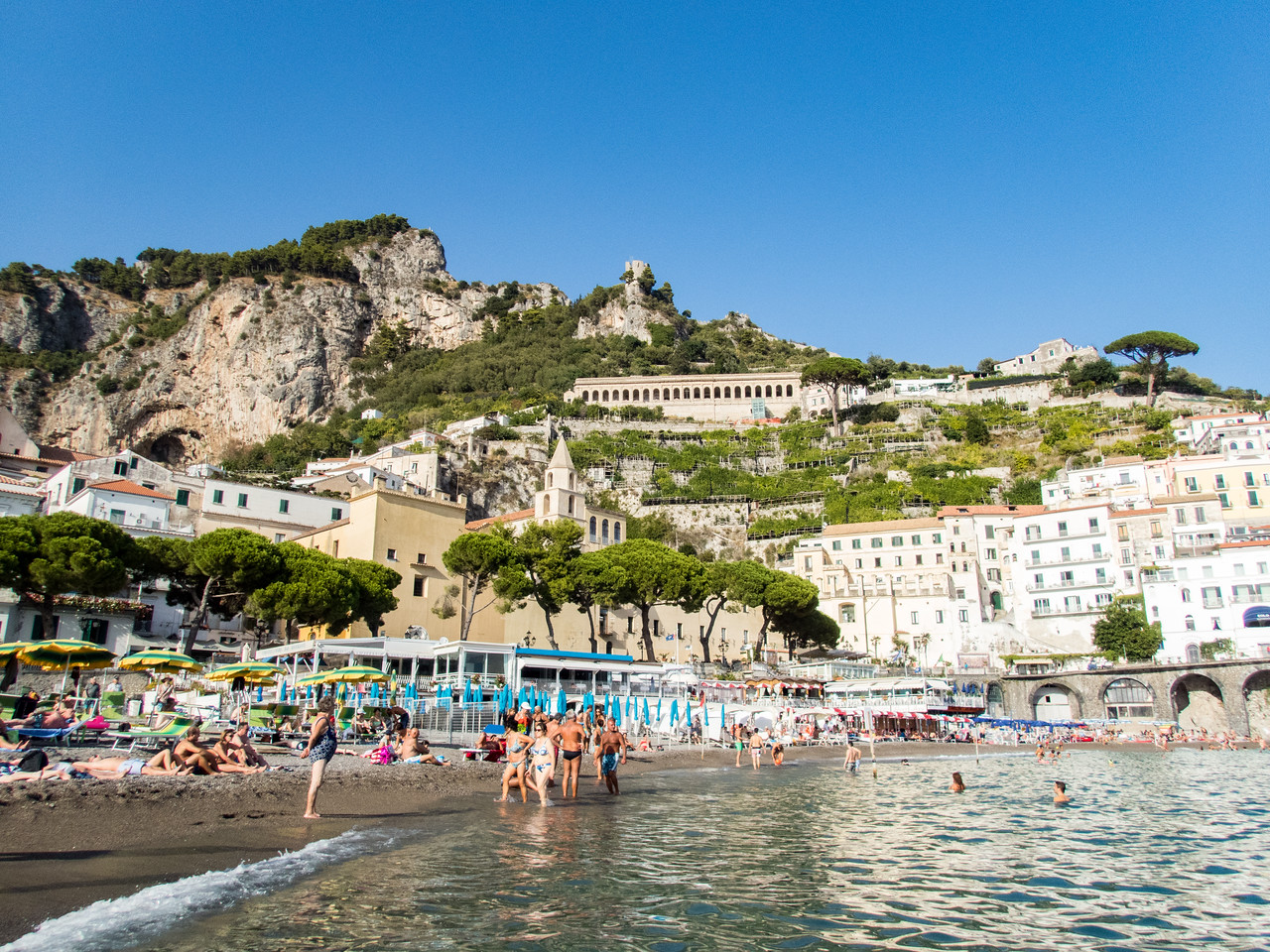 At the beach in Amalfi.