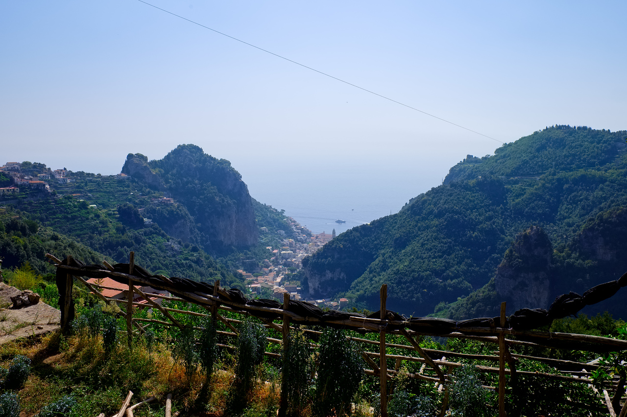 Looking back down on Amalfi as we make the turn towards Ravello.