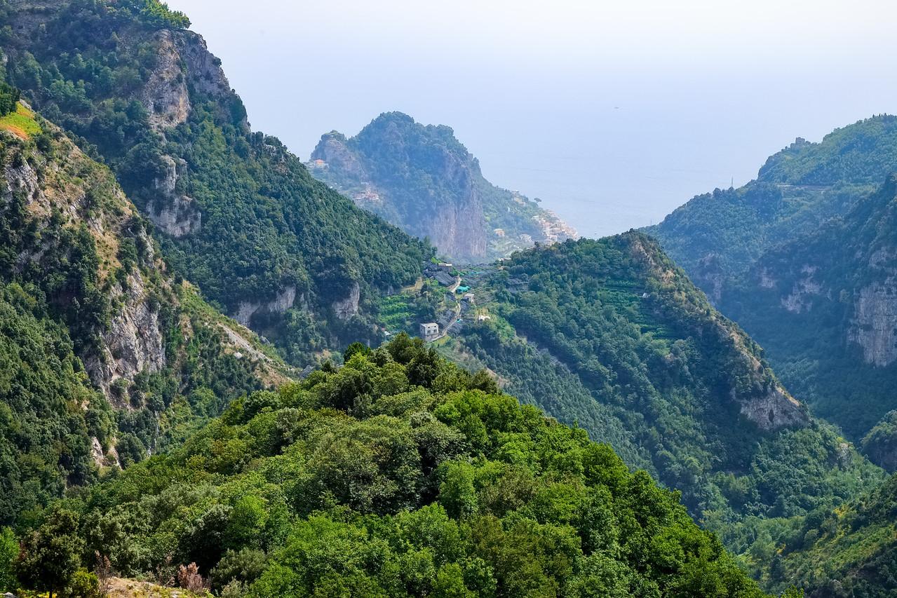 Looking back towards Amalfi and the sea.