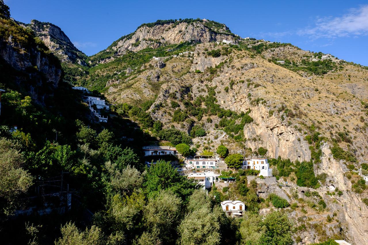 Houses on the hillside above Positano.