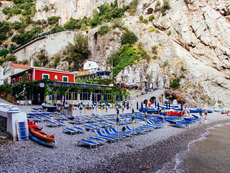 The beach below Priano.